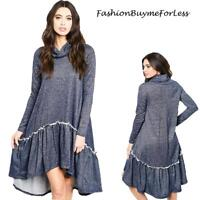 BLUE BOHO Lagenlook Oversized High Low Ruffle Tunic Swing Sweater Dress S M L XL