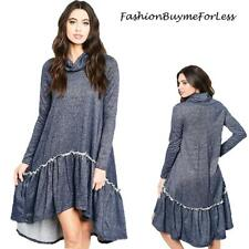 BLUE BOHO Lagenlook Oversized High Low Ruffle Tunic Swing Sweater Dress S M L XL
