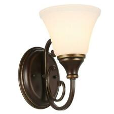 Somerset 1-Light Bronze Sconce with Bell Shaped Frosted Glass Shade (Reversible)