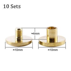 10Set Solid Brass Leather Belt Wallet Chicago Screw Nail Stud Bind Rivet 4-10mm