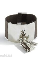 NWT Guess Silver Metal-Gray Faux Leather Wide Magnetic Close Tassel Bracelet