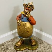 """Vintage National Rodeo Clown 1980 Chalkware 15"""" By Progressive Art Products Inc."""
