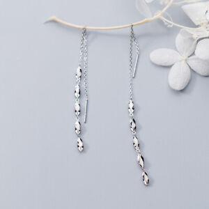 Damen Ohrringe Durchzieher Gedreht echt Sterling Silber 925