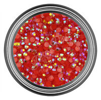 AB Red Resin Rhinestone Gem - 2mm 3mm 4mm 5mm 6mm - Flatback - Nail Art