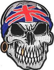 Iron On/ Sew On Embroidered Patch Badge Skull Union Jack Bandana Large