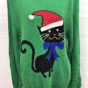 Bon Worth New Green Ugly Christmas Cat Lady  Santa Hat Sweater Women's