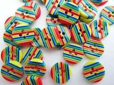 20 Rainbow Stripes Plastic Flatback Round Sewing Button/4 holes/craft/kids Sb56