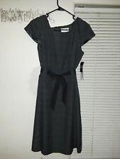 STUDIO 1 Women's Gray Plaid Classic Dress W/ Belt Size 12p