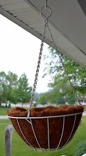 CobraCo Round Hanging Grower's Basket w Bamboo Liner 12 inch White NEW