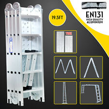 19.5ft Multi Purpose Aluminum Telescopic Ladder Heavy Duty Folding Extension