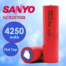 2x Panasonic Sanyo 3.6V 4250mAh NCR20700B Flat Top Lithium Rechargeable Battery