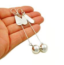 Long 925 Sterling Silver Stick Ball Drop Earrings