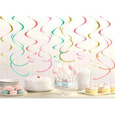 PASTEL CONFETTI HANGING SWIRL DECORATIONS (12) ~ Wedding  Shower Party Supplies