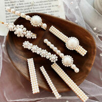 Hot Sale Women Pearl Hair Clip Snap Barrette Stick Hairpin Hair Accessories Gift