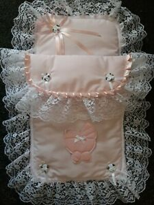 Hand made dolls pram set with lace, ribbons and satin applique.  xmas?