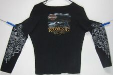 REDWOOD HARLEY-DAVIDSON EUREKA CA. Womens (L) Long Sleeve Graphic-T Shirt FLORAL