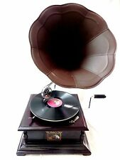 ANTIQUE GRAMOPHONE PHONOGRAPH STEEL BROWN COLOR HORN SOUND BOX NEEDLE SET