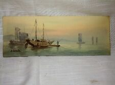 A Rare Antique Japanese (?) Fishing Boats Watercolor Painting by Artist Shumin