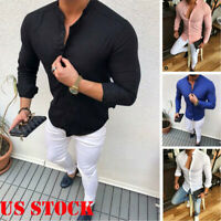 Muscle Slim Fit Men's V Neck Long Sleeve Tees T-shirt Casual Shirts Tops Blouse