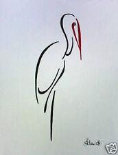 H.Schmidt Storch*Meister Adebar*zoo vintage strichzeichnung deko bild Aquarell