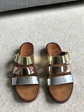 Fitflop-Or/Argent/Bronze Métallique Cuir gladdie Diapositive Sandales-UK6