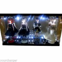 Acrylic Display Case LED Light Box for FOUR Silkstone Barbie Fashion Model Doll