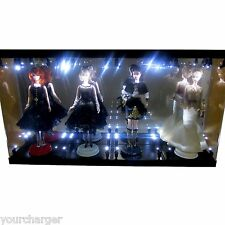Acrylic Display Case LED Light Box for FOUR Silkstone Barbie Fashion Model Doll