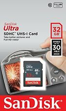 SanDisk Ultra 32gb 30MB/s SD Card SDHC Memory Card For Digital CCTV Car Cameras