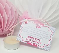 BABY SHOWER FAVOURS GUEST THANK YOU GIFTS CANDLE TEA LIGHT BLUE PINK YELLOW