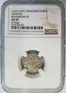 Antioch Bohemond III NGC AU 50 Silver Denier Knight Templar Crusader Cross