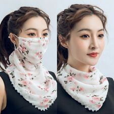 Protective Reusable Women Earloop Chiffon Scarf With Mask
