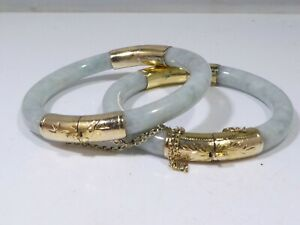 2  FINE MATCHING 14K GOLD AND WHITE JADE BRACELETS - SMALLER WRISTS