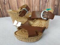 Born Womens 8 Brown Leather Strappy Buckle Cork Wedge Heels Sandals Slides EUC