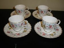 4 ROYAL DOULTON ENGLAND ROSELL FOOTED DEMITASSE CUPS & SAUCERS DISCONTINUED