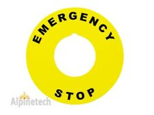 "Emergency Stop 2"" Round Yellow E-Stop Legend Plate for Use with 22mm Switches"