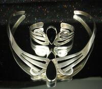 TAXCO STERLING ONYX SET Stiff Collar Necklace & Cuff Bracelet SIGNED BNC So Fine