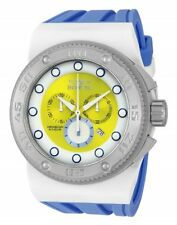 New Mens Invicta 12322 Akula Sport Swiss Chrono Yellow Dial Blue Strap Watch