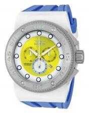 New Mens Invicta 12322 Akula Sport Swiss Chrono Yellow Dial Blue Strap Watch