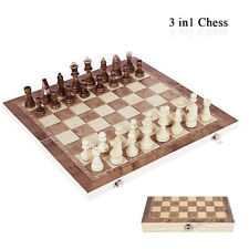 3 in 1 Wooden Chessboard Portable Chess Board Game Set Magnetic Backgammon Gift
