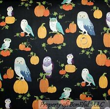 BonEful Fabric FQ Cotton Quilt Black Orange Purple OWL Bird Pumpkin Halloween US