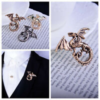 Unisex Dragon Badge Corsage Lapel Stick Brooch Pins Suit Shirt Accessory Jewelry