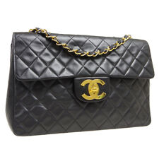 CHANEL Quilted CC Jumbo Double Chain Shoulder Bag 3602697 Black Leather F00183