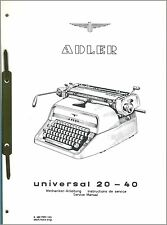 Mechaniker-Anleitung Adler Universal 20-40 Schreibmaschine Service Manual *292