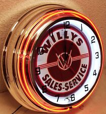 """18"""" WILLYS Sales & Service Sign Double Neon Clock"""