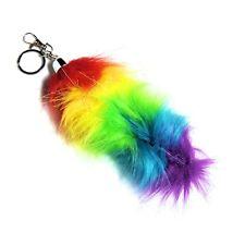 Gay Pride Fox Tail 6 Inch Key Chain Belt Clip Hair Clip Faux Fur