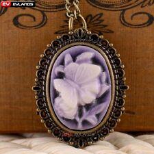 Vintage Flowers Purple Quartz Pocket Watch Necklace Pendant Chain Ladies Gift