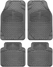 Car Floor Mats for All Weather Rubber 4pc Set Eagle Fit Heavy Duty Grey