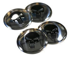 "4x Punisher Wheel Hub Center Cap Sticker Decal Auto Car 2.2"" diameter  (SILVER)"