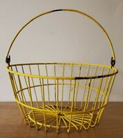 Vintage Round Primitive Wire Gathering Basket With Handle Farm Rustic Yellow