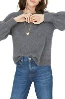 Madewell Gladwell Balloon Sleeve Pullover Sweater In Gray Size M Medium